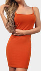 Naranja Bodycon Mini vestido de longitud