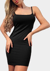 Negro Bodycon Mini vestido de longitud